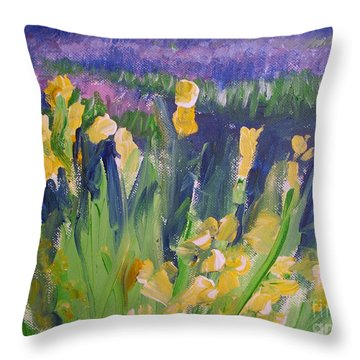 Yellow Iris Throw Pillow by Eric  Schiabor