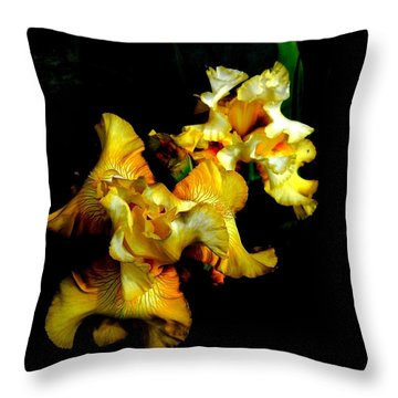 Yellow Iris Throw Pillow by Karen Molenaar Terrell