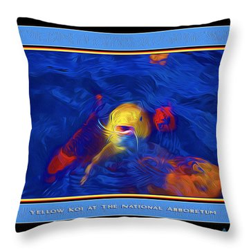 Yellow Koi At The National Arboretum Throw Pillow