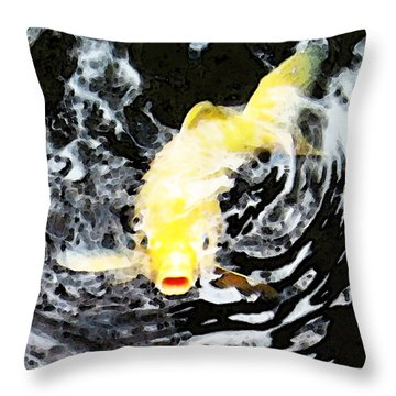 Yellow Koi - Black And White Art Throw Pillow by Sharon Cummings