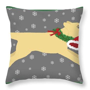 Yellow Labrador Dog Steals Santa's Hat Throw Pillow