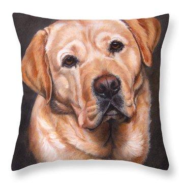 Yellow Labrador Portrait - Dark Yellow Dog Throw Pillow