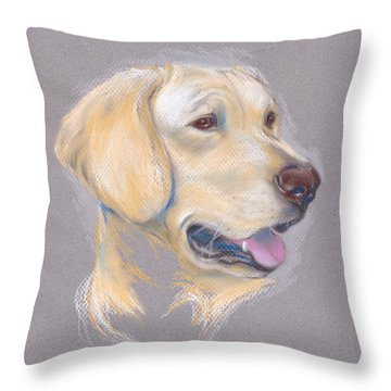 Yellow Labrador Retriever Portrait Throw Pillow by MM Anderson