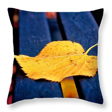 Yellow Leaf On Bench II Throw Pillow by Silvia Ganora