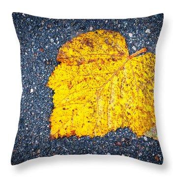 Yellow Leaf On Ground Throw Pillow by Silvia Ganora