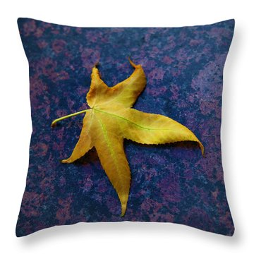 Yellow Leaf On Marble Throw Pillow