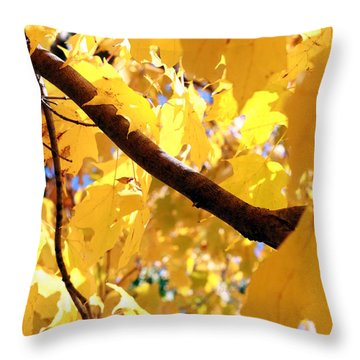 Yellow Leaves Throw Pillow by Valentino Visentini
