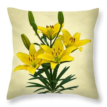 Yellow Lilies Throw Pillow by Jane McIlroy