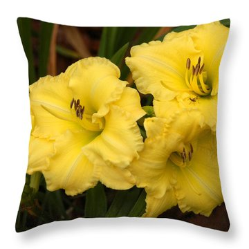 Yellow Lillies Throw Pillow