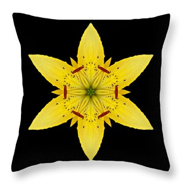 Yellow Lily I Flower Mandala Throw Pillow