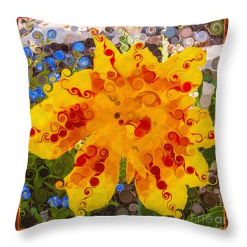 Yellow Lily With Streaks Of Red Abstract Painting Flower Art Throw Pillow