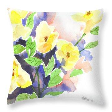Yellow Magnolias Throw Pillow by Kip DeVore