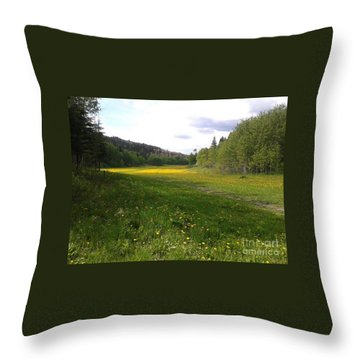 Yellow Meadow Throw Pillow