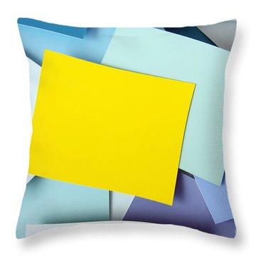 Yellow Memo Throw Pillow by Carlos Caetano