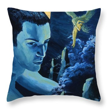 Yellow Moon Throw Pillow by Rene Capone