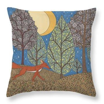 Yellow Moon Rising Throw Pillow