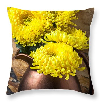 Yellow Mums In Copper Vase Throw Pillow by Garry Gay