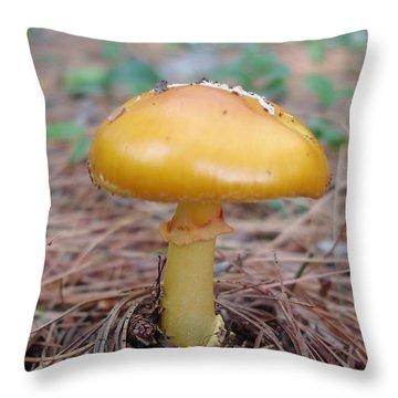 Yellow Mushroom Throw Pillow
