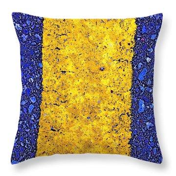 Yellow On Blue Stone Throw Pillow