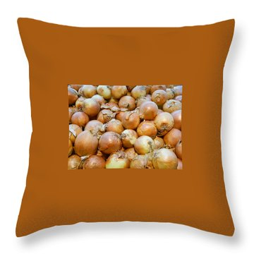 Throw Pillow featuring the photograph Yellow Onions by Emmy Marie Vickers