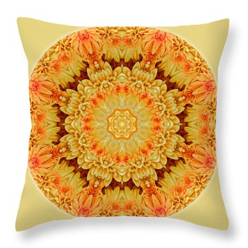 Yellow Orange Mum Mandala Throw Pillow