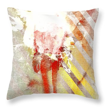 Yellow Orange Stripes Throw Pillow