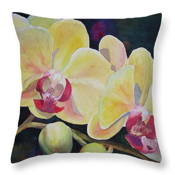 Yellow Orchids Throw Pillow by Judy Mercer