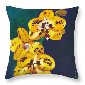 Throw Pillow featuring the painting Yellow Orchids by Laura Forde