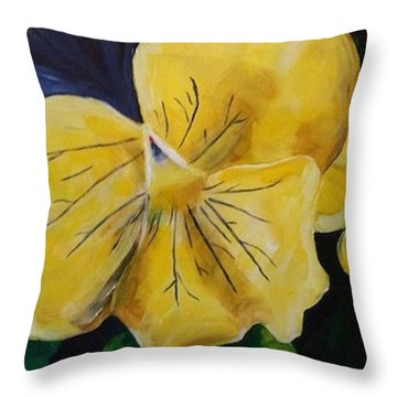 Yellow Pansy Throw Pillow