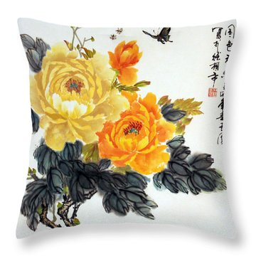 Yellow Peonies Throw Pillow by Yufeng Wang