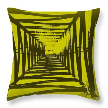 Throw Pillow featuring the photograph Yellow Perspective by Clare Bevan