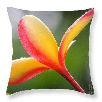 Yellow Pink Plumeria Throw Pillow