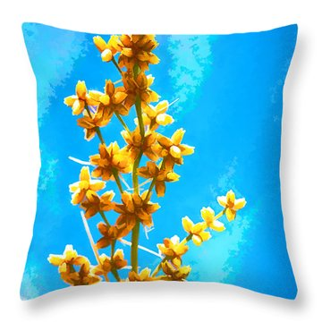 Yellow Plant Throw Pillow