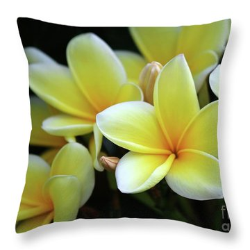 Yellow Plumeria Cascade Throw Pillow