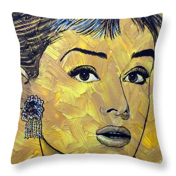 Yellow Pop Audrey Throw Pillow by Malinda Prudhomme