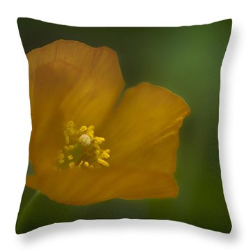 Yellow Poppy Throw Pillow by Jacqui Boonstra