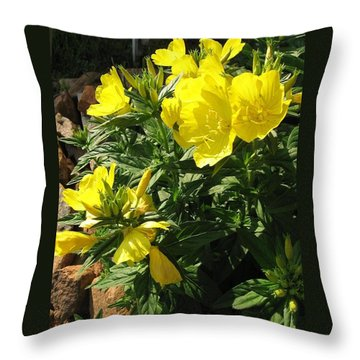 Yellow Primroses Throw Pillow
