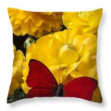 Yellow Ranunculus And Red Butterfly Throw Pillow by Garry Gay