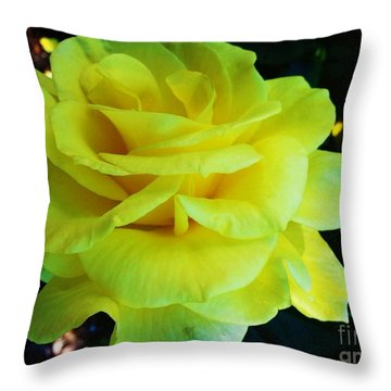 Yellow Rose Throw Pillow by Heather L Wright