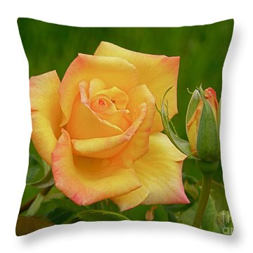 Throw Pillow featuring the photograph Yellow Rose With Bud by Debby Pueschel
