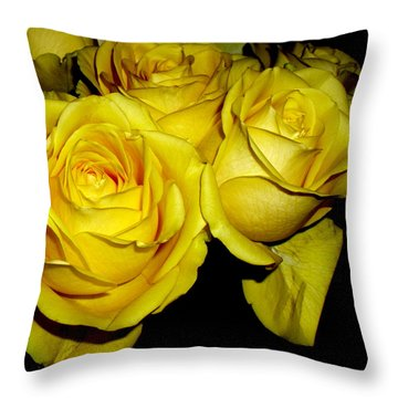Throw Pillow featuring the photograph Yellow Roses by Fred Wilson