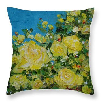 Throw Pillow featuring the painting Yellow Roses by Judith Rhue