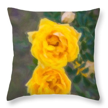 Yellow Roses On A Bush Throw Pillow by Omaste Witkowski