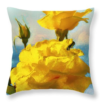 Yellow Roses On The Coast Throw Pillow