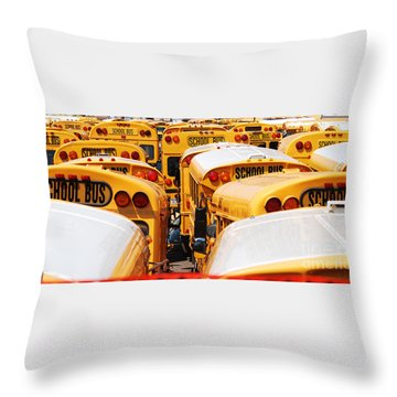 Yellow School Bus Throw Pillow