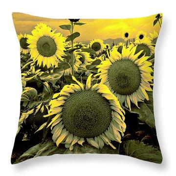 Yellow Sky Yellow Flowers. Throw Pillow