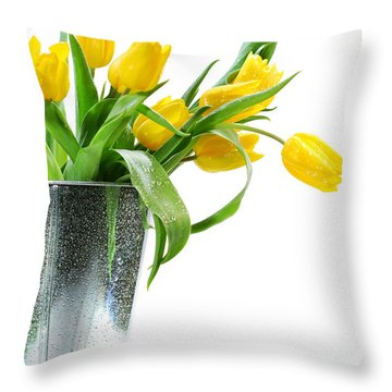 Yellow Spring Tulips Throw Pillow