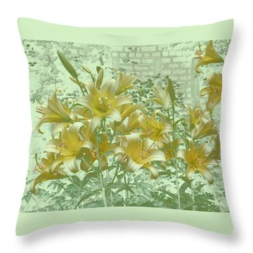 Throw Pillow featuring the photograph Yellow Stargazers On Soft Green by Tom Wurl