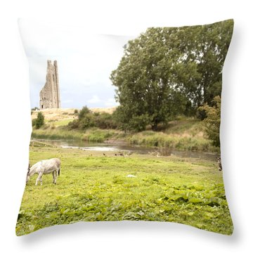 Yellow Steeple Amidst Meath Ireland Throw Pillow