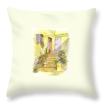 Throw Pillow featuring the painting Yellow Steps by Carol Wisniewski